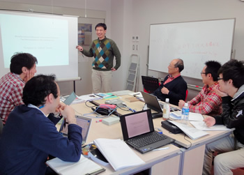 Research meeting in which heated debates often cause the schedule to overrun